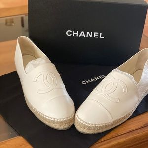 Channel Leather Espadrilles
